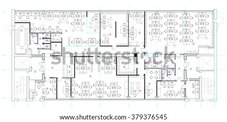Standard office furniture symbols set used in architecture plans, office planning icon set, graphic design elements. Small Office room - top view plans. Vector isolated. - stock vector