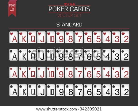 Standard Poker cards vector set for poker client with huge index and classic suit colors. - stock vector