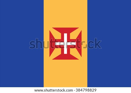 Standard Proportions and Color for Madeira Official Flag - stock vector