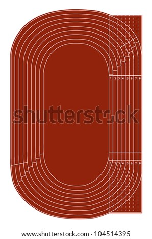 Standard running track on white - Vector