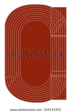 Standard running track on white - Vector - stock vector