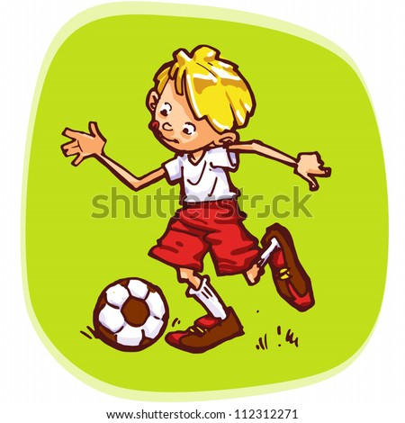Standard vector illustration of young football player.