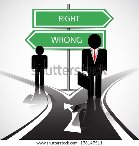 Standing at the crossroad with wrong and right way - stock vector