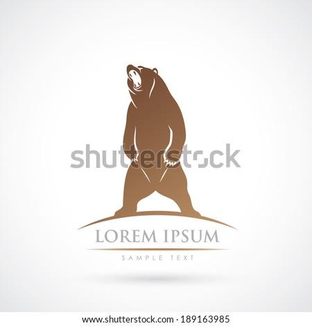 Standing bear label - vector illustration - stock vector