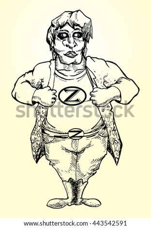 Standing big guy with Z letter on his shirt hand draw illustration isolated - stock vector