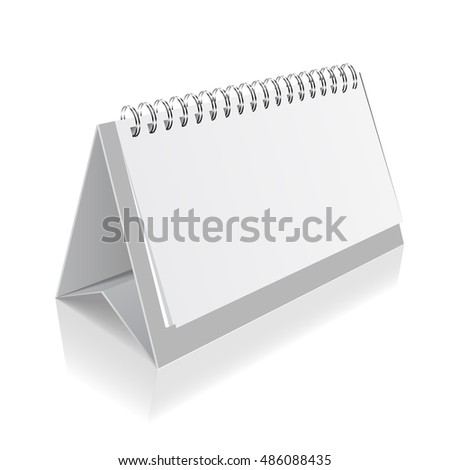 Standing blank calendar isolated on white background