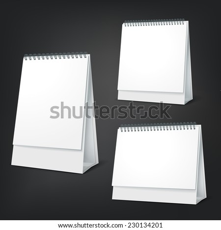 standing blank calendar set isolated on black background - stock vector