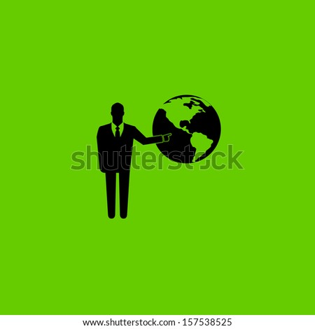 Standing businessman pointing  on the globe on green background - stock vector