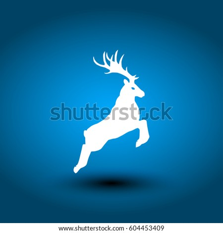 Standing deer silhouette on grey background. Vector illustration.