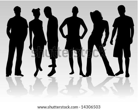 Standing figures of people - stock vector