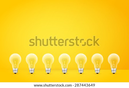 Standing in a row light bulbs on a yellow background. Vector illustration