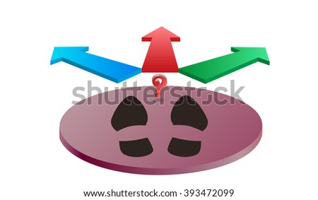 standing in front of a choice the way, traces of man and arrow and a question mark - stock vector