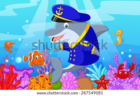 Standing little cartoon Dolphin using uniform Captain with collection fish - stock vector