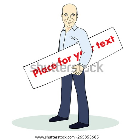 Standing man. Colorful illustration. Vector template with place for text. Image for advertising - stock vector