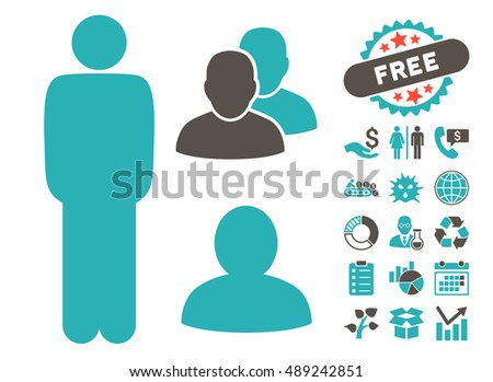 Standing Man icon with bonus pictograph collection. Vector illustration style is flat iconic bicolor symbols, grey and cyan colors, white background.