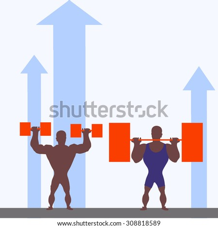 standing man with dumbbells and standing man with a barbell - stock vector