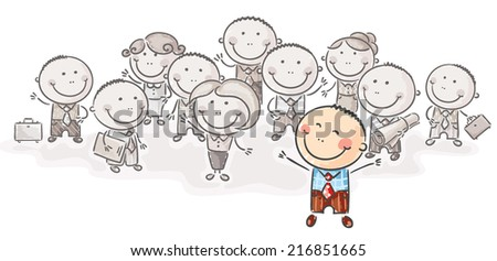 Standing out from the crowd - stock vector