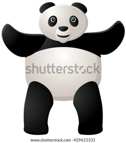 Standing panda with two hands raised vector illustration