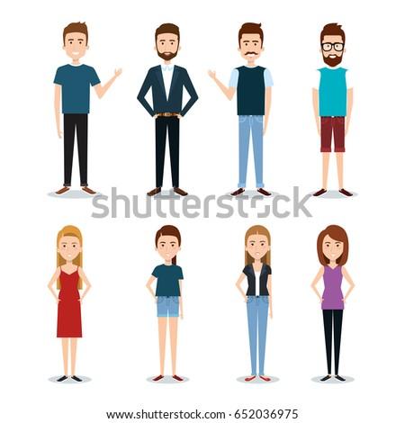 Standing people set