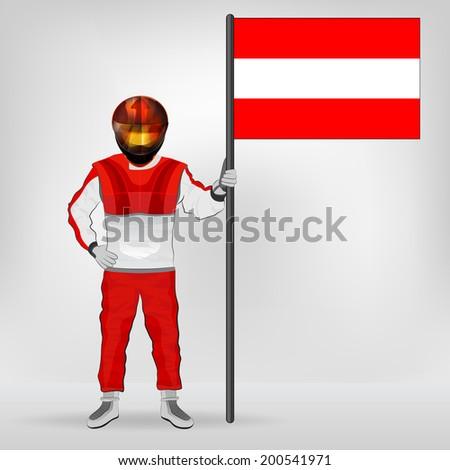 standing racer holding Austrian flag vector illustration - stock vector
