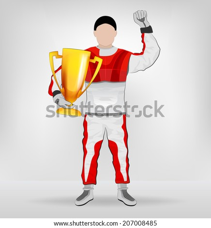 standing racer holding cup with hand up vector illustration - stock vector