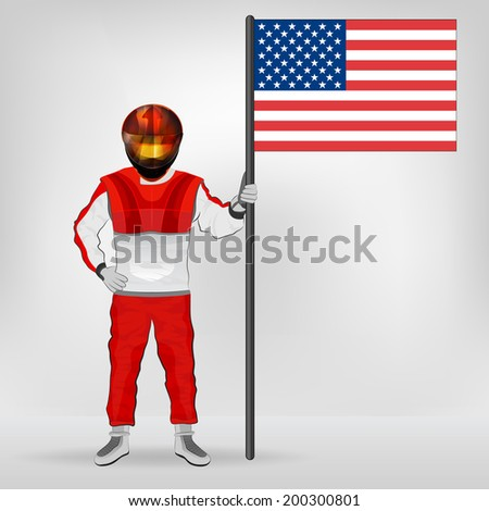 standing racer holding USA flag vector illustration - stock vector
