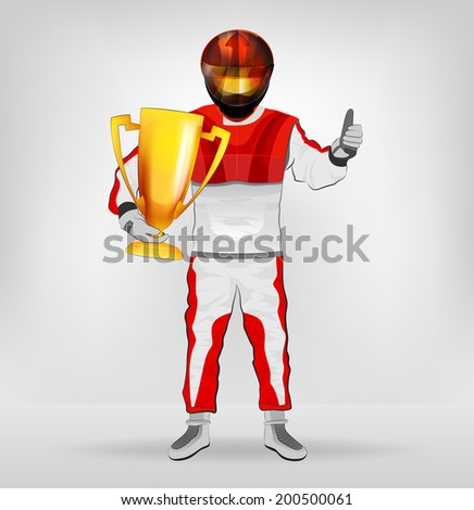 standing racer in helmet holding cup with thumb up vector illustration - stock vector