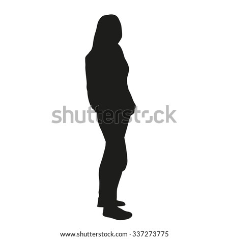 Standing woman, vector silhouette