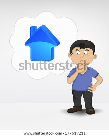 standing young boy thinking about new house vector illustration - stock vector