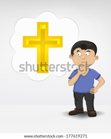 standing young boy thinking about religion vector illustration - stock vector