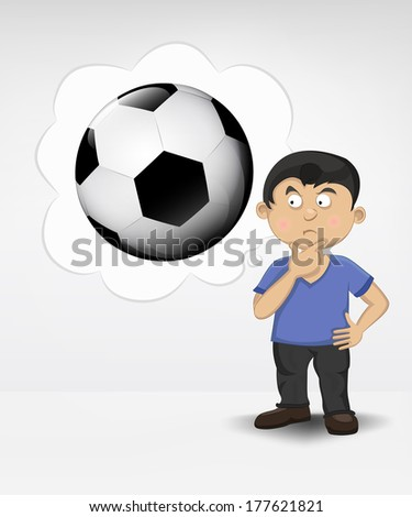 standing young boy thinking about soccer ball vector illustration - stock vector