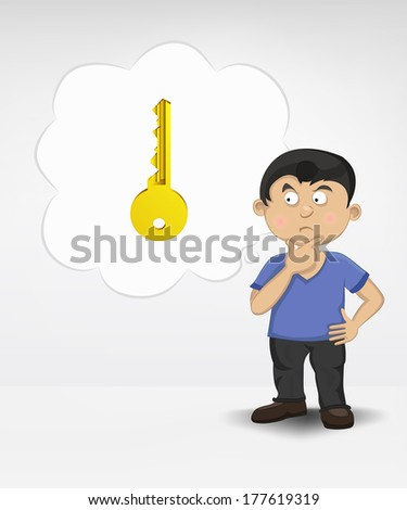 standing young boy thinking about unlocking entrance vector illustration - stock vector