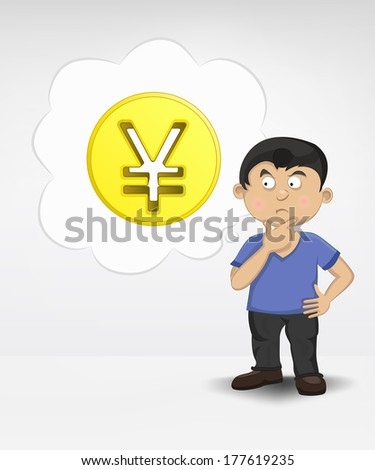 standing young boy thinking about Yuan money business vector illustration - stock vector