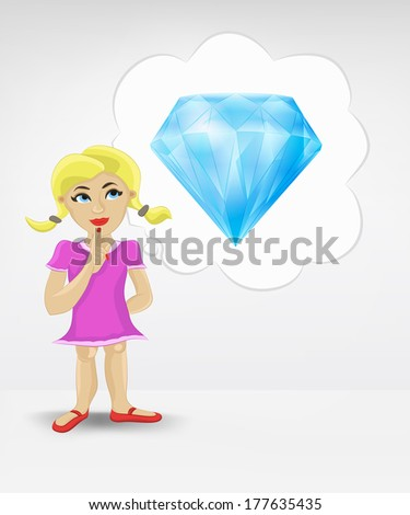 standing young girl thinking about diamond vector illustration - stock vector