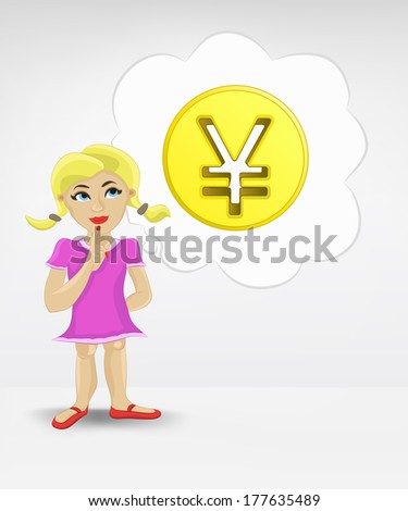 standing young girl thinking about Yuan money business vector illustration - stock vector
