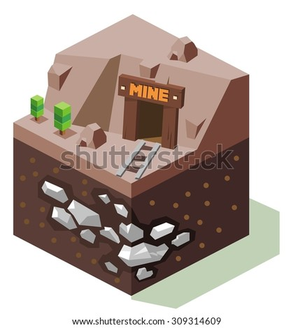 Stannary or Silver mine. isometric art - stock vector