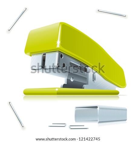 Stapler and staples. Illustration of little green stapler with staples on the table. - stock vector
