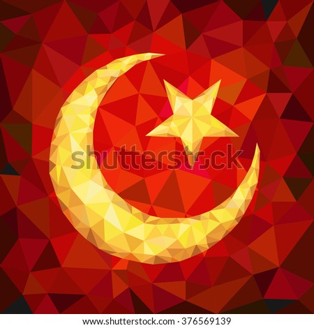 Star and Crescent Emblem of Islam in Polygons - stock vector