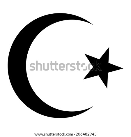 Star and crescent icon on white background. Vector illustration. Symbol of Islam. - stock vector