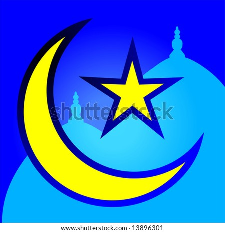 star and moon with Arabic letters