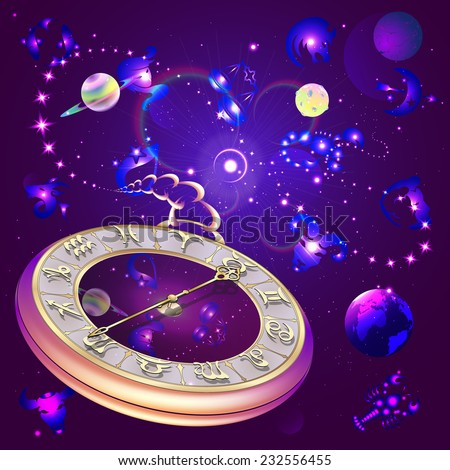 star background with clock and zodiac signs, vector illustration - stock vector