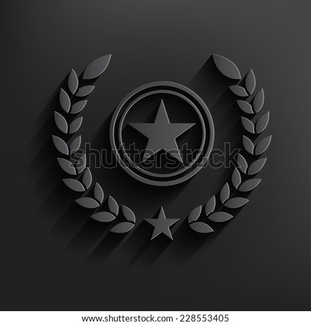 Star badge symbol on dark background,clean vector - stock vector