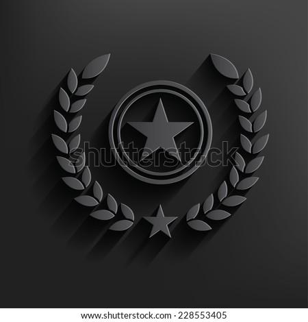 Star badge symbol on dark background,clean vector - stock vector
