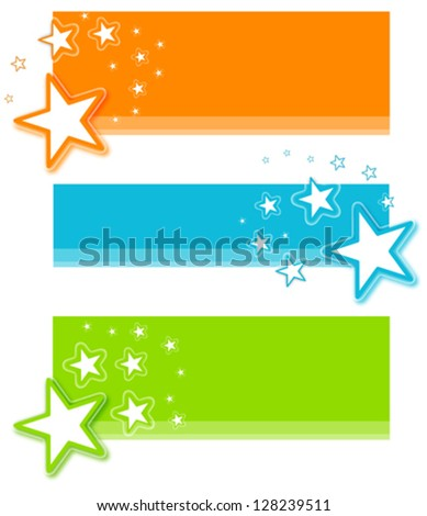 Star Banner Set - stock vector