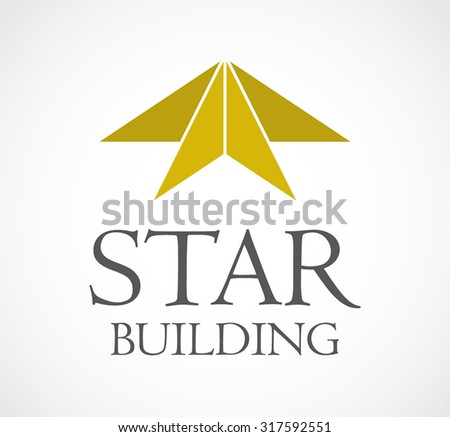 Star building real estate gold abstract vector logo design template property business icon company identity symbol concept - stock vector