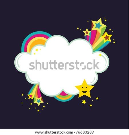 Star burst rainbow cloud banner. Vector Illustration of star bursts and rainbows in a cloud shape banner. - stock vector