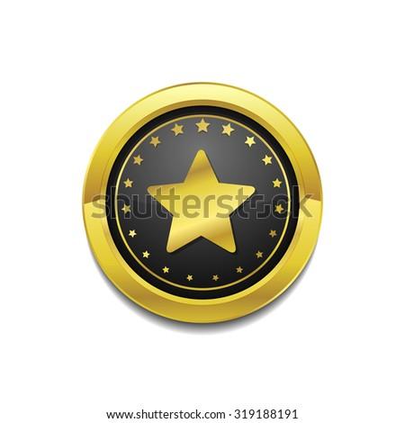 Star Circular Vector Gold Web Icon Button - stock vector