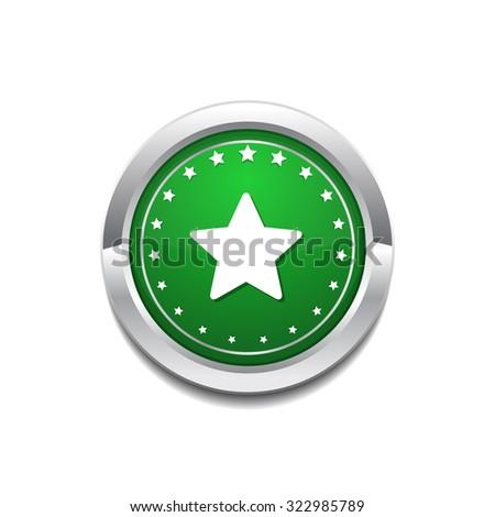 Star Circular Vector GreenWeb Icon Button - stock vector