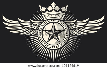 star, crown and wings tattoo (tattoo design, star badge, star symbol) - stock vector