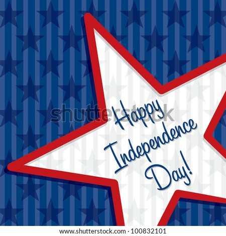 Star cut out Happy Independence Day card in vector format. - stock vector